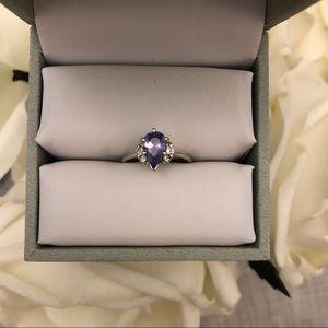 Jewelry - Pear 14k White Gold Tanzanite and Diamond Ring